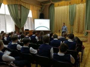 Meeting students in Ukraine