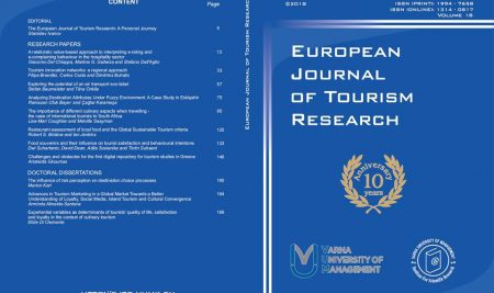European Journal of Tourism Research celebrates its 10 years anniversary