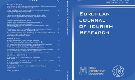 European Journal оf Tourism Research Now an Open Access Journal