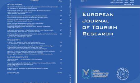 European Journal of Tourism Research (EJTR) вече със свободен достъп